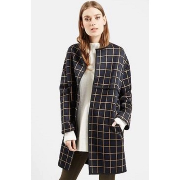 Topshop Sweaters - topshop navy grid print sweater cardigan coat